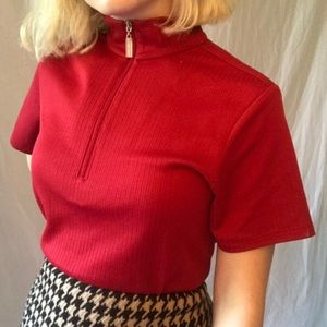quarter zip red ribbed mock neck sweater